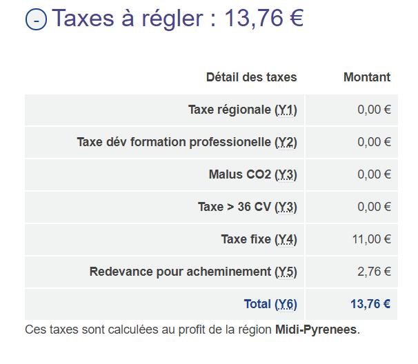 Taxes changement carte grise vasp