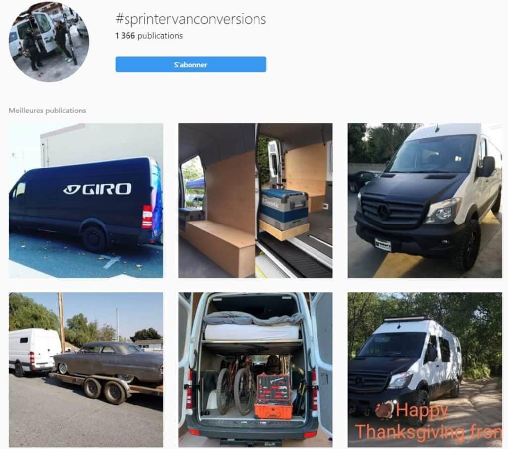 Exemples de posts instagram sur la conversion de vans sprinter