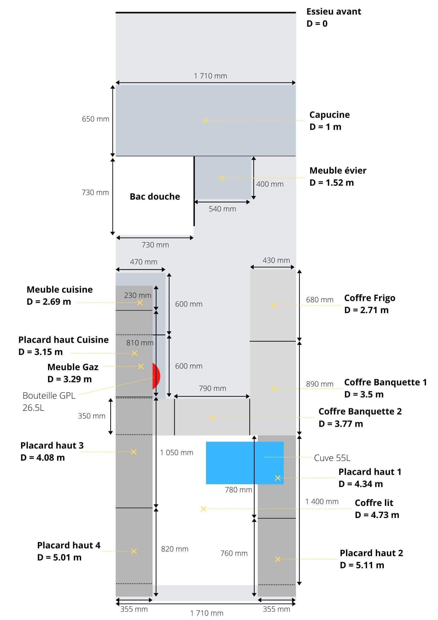 Plan côté VASP, plan aménagement VASP, plan répartition des charges
