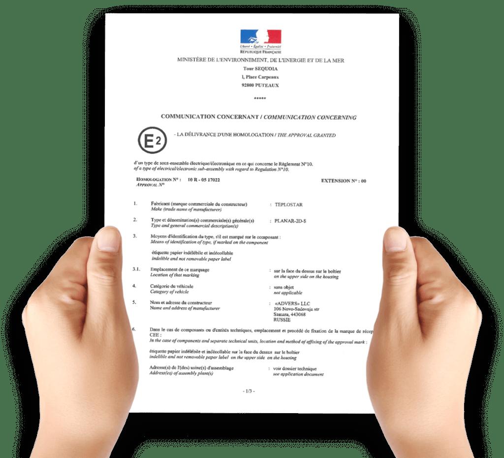 Certificat Planar pour homologation VASP